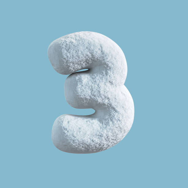 Snow Font. 3d rendering isolated on blue background. Number 3 stock photo