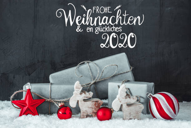Snow, Gift, Red Decoration, Glueckliches 2020 Means Happy 2020 – Foto