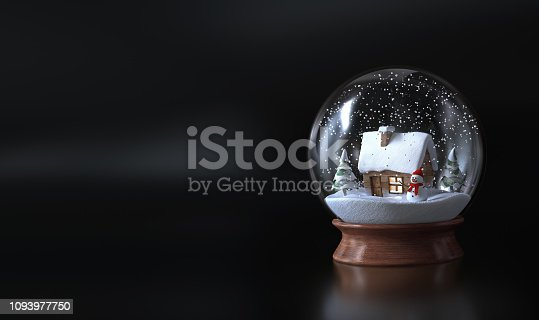 istock Snow globe with a snowman , snowman and green trees. Christmas snow globe - dark background - 3D rendering 1093977750
