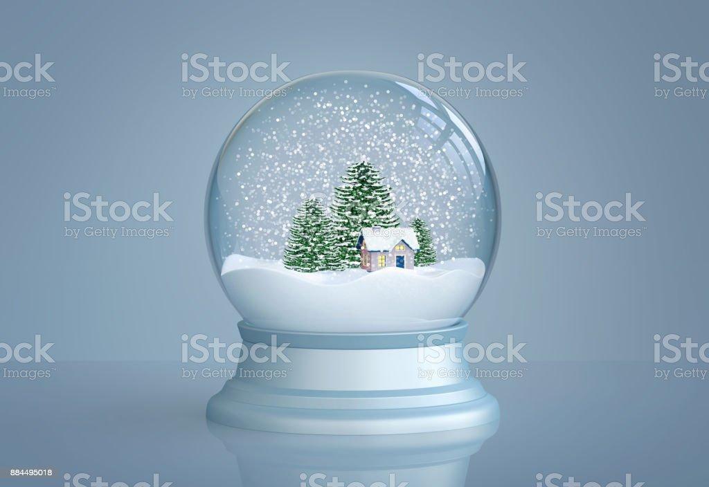 Schneekugel Mit Haus Und Pinien Stock-Fotografie und mehr Bilder von ...