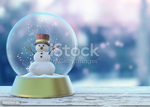 istock Snow globe with snowman white. Merry Christmas Happy New Year 630053190
