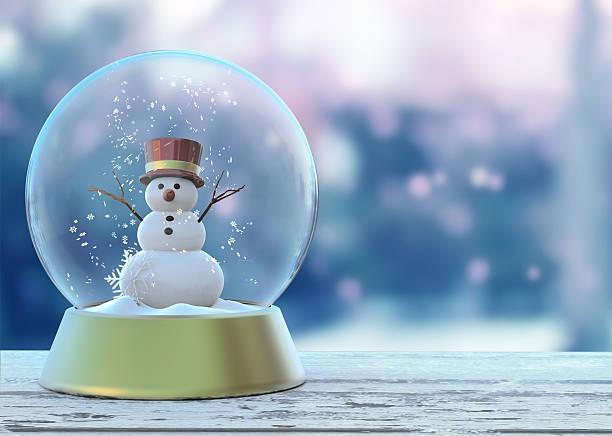 snow globe with snowman white. merry christmas happy new year - weihnachten de stock-fotos und bilder