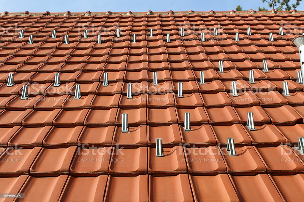 Snow Guard On Ceramic Roof Tile Stock Photo More Pictures Of