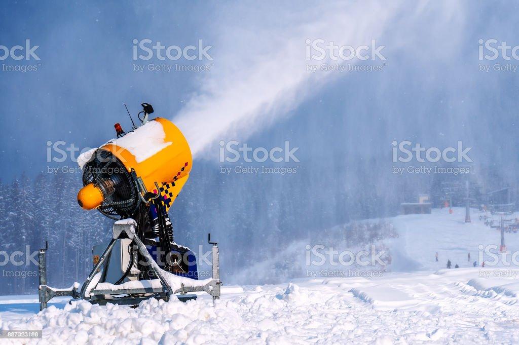 snow gun, ski resort stock photo