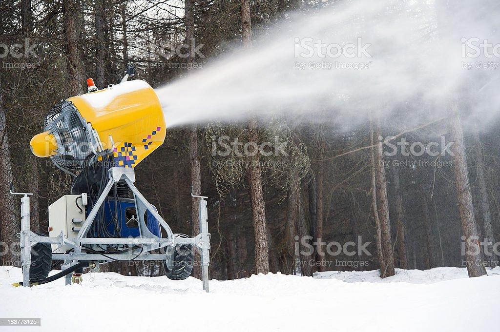 Snow gun under power royalty-free stock photo