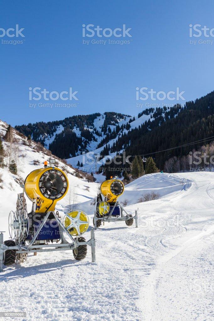 snow guns in the ski resort stock photo