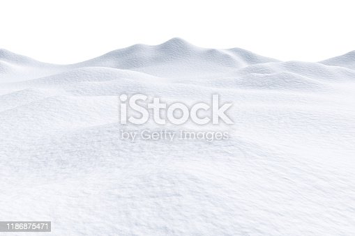 istock Snow hills isolated on white background 1186875471