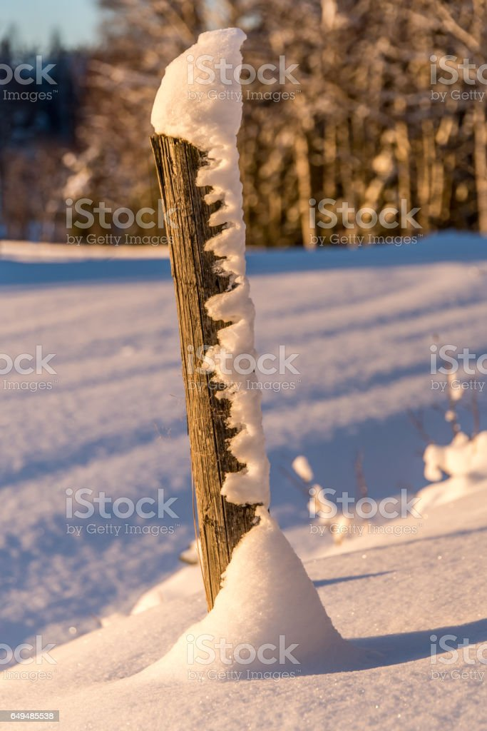 Snow in a pole stock photo