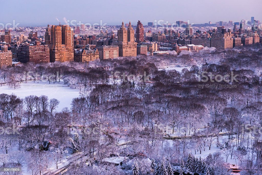 Snow in Central Park stock photo
