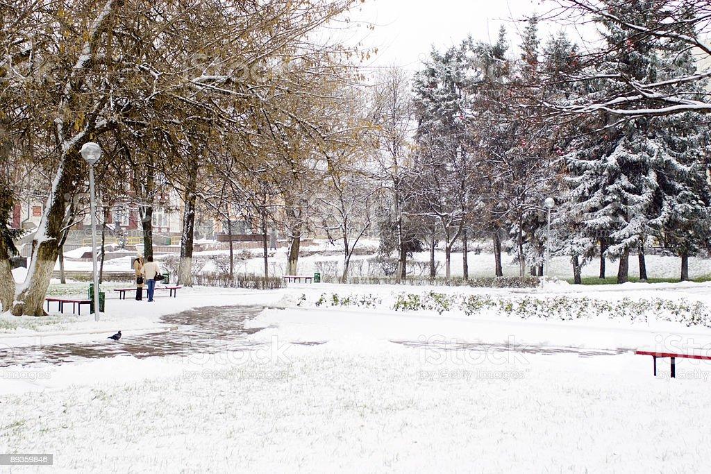snow in city royalty free stockfoto