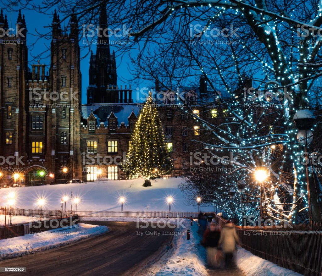 Snow in Edinburgh at Christmas time stock photo