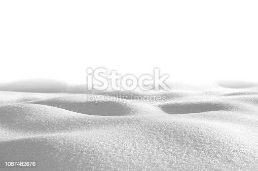 Snow drifts isolated on white background