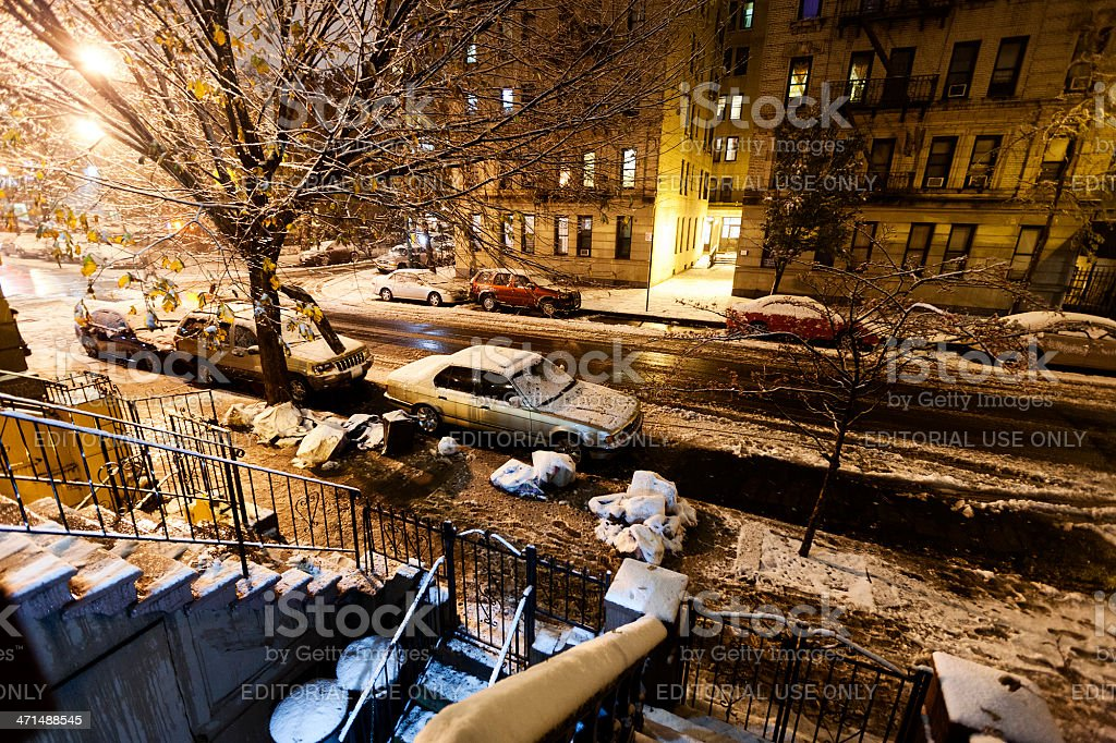 Snow in Harlem Manhattan New-York royalty-free stock photo