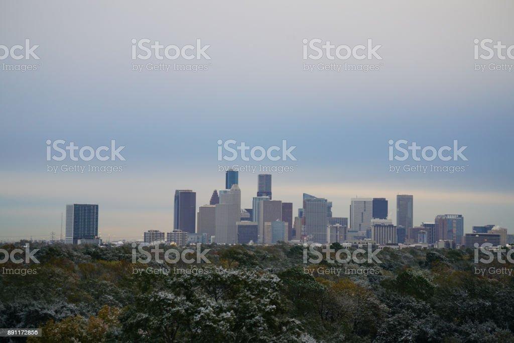 Snow in Houston - Downtown View stock photo