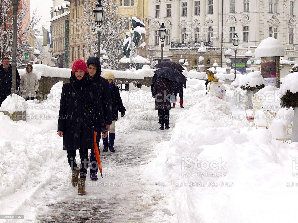 Snow in Ljubljana royalty-free stock photo