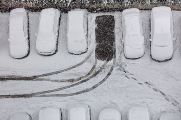 Snow in parking area - foto stock