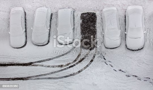 Snow in parking area