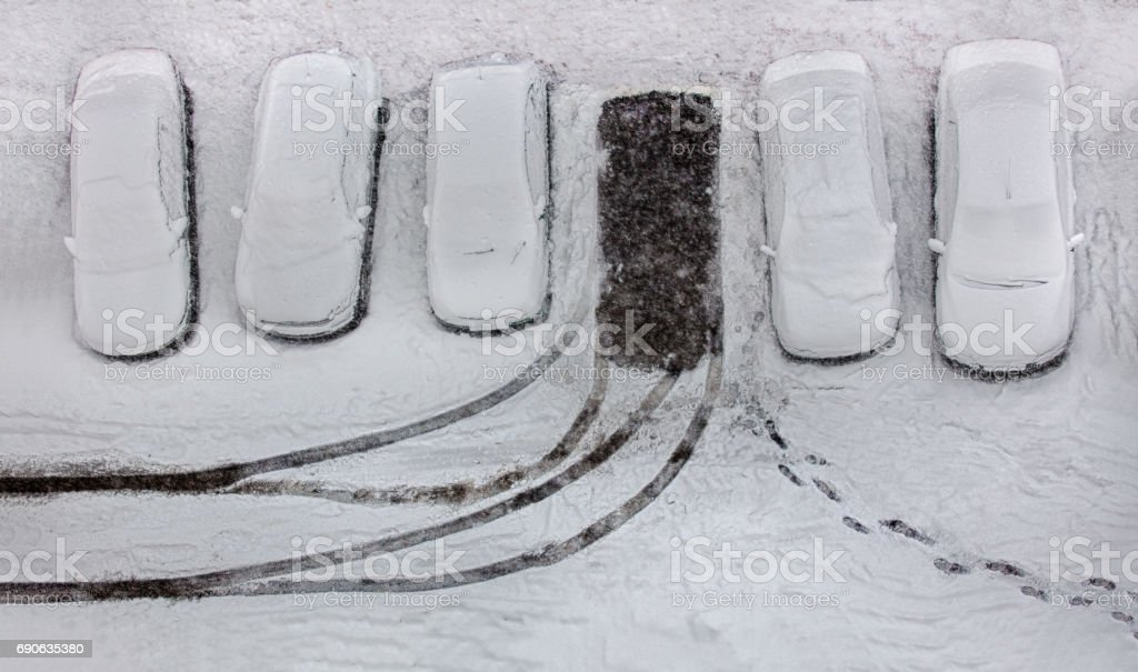 Snow in parking area stock photo