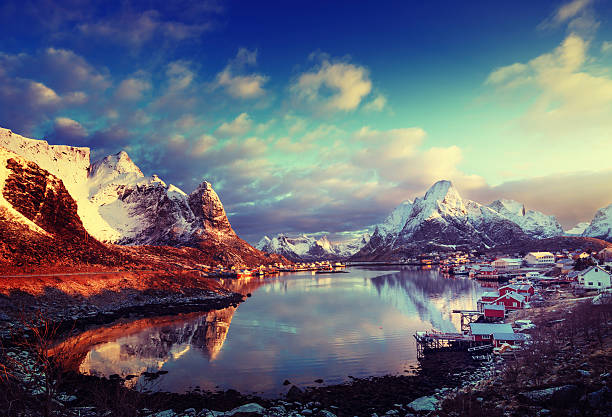 snow in Reine Village, Lofoten Islands, Norway snow in Reine Village, Lofoten Islands, Norway norwegian culture stock pictures, royalty-free photos & images