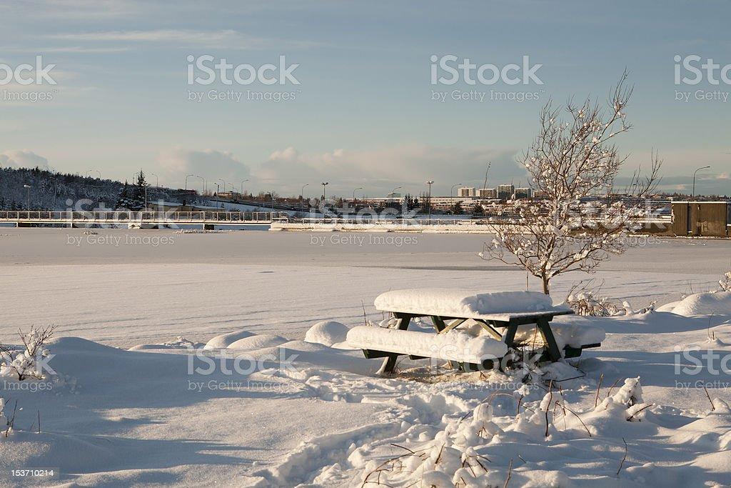 Snow in Reykjavík Iceland royalty-free stock photo