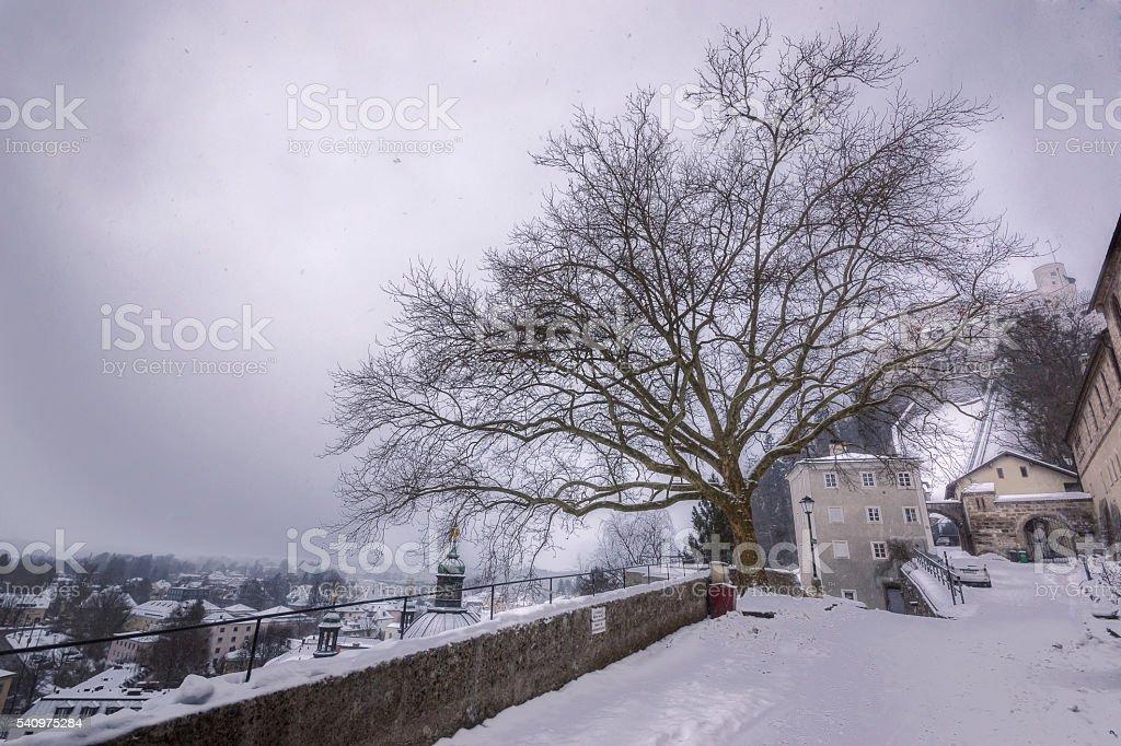 Snow in Salzburg stock photo