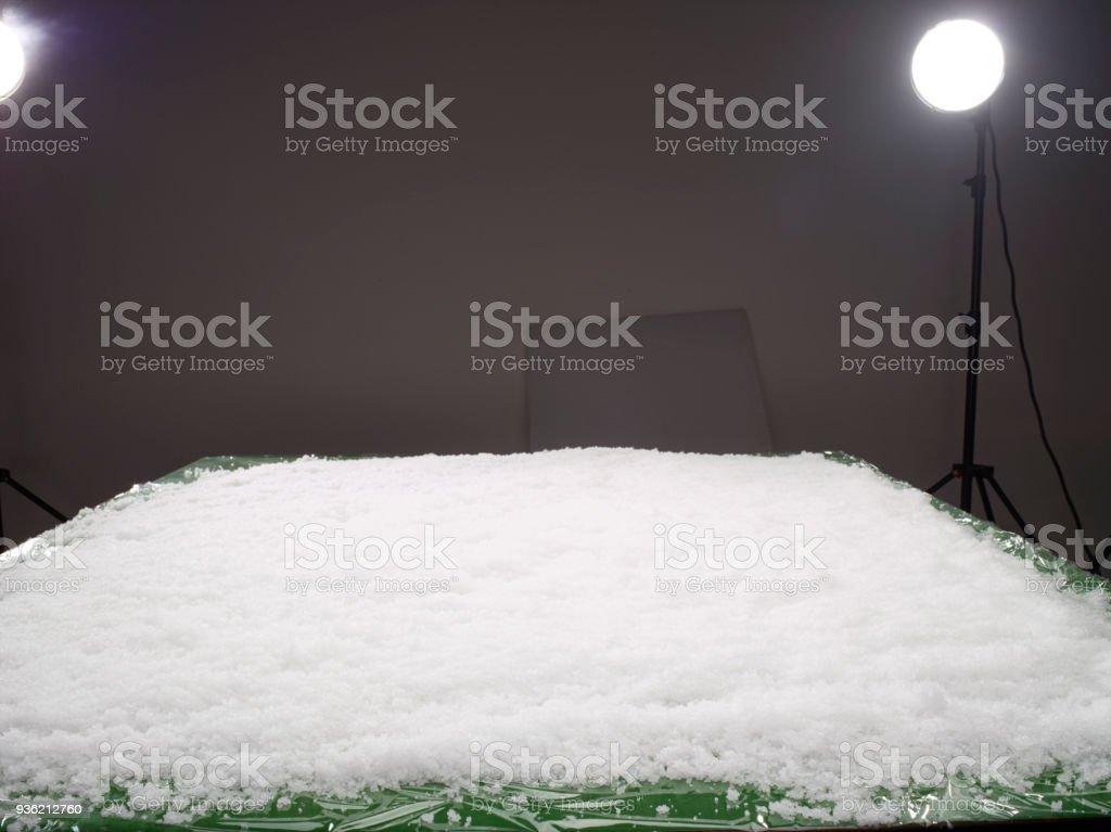 snow in studio