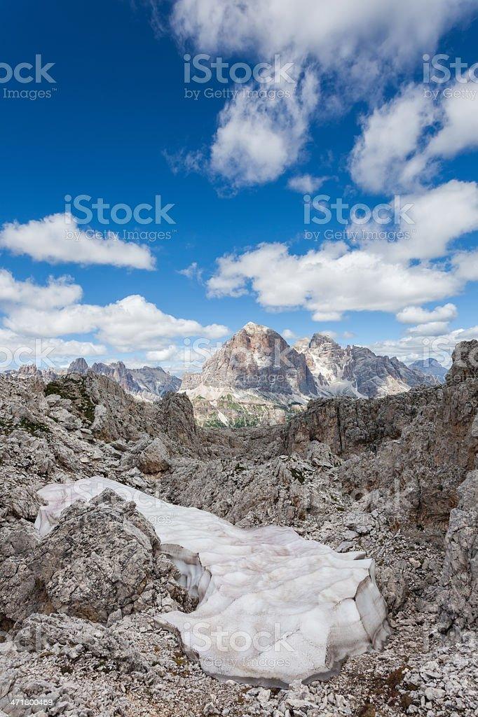 Snow in the mountains - Dolomites summer. royalty-free stock photo