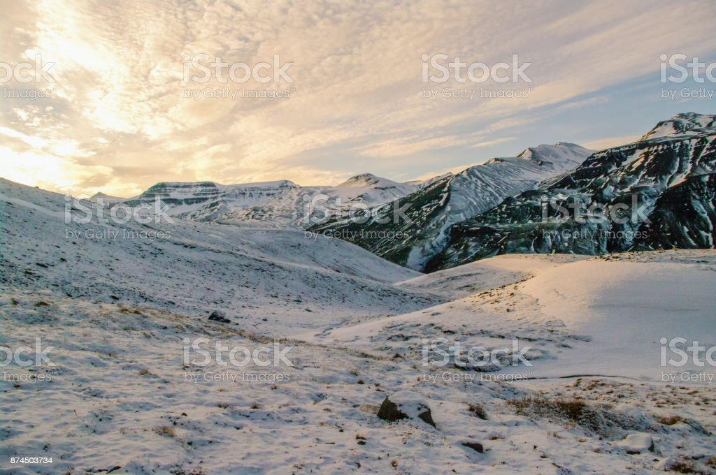 Snow in the mountains stock photo