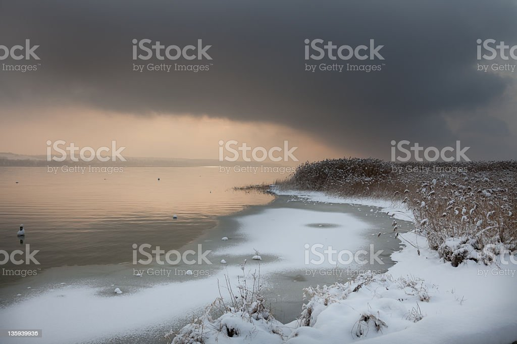 snow is coming soon stock photo