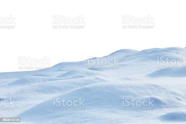 Photo of snow isolated on white background