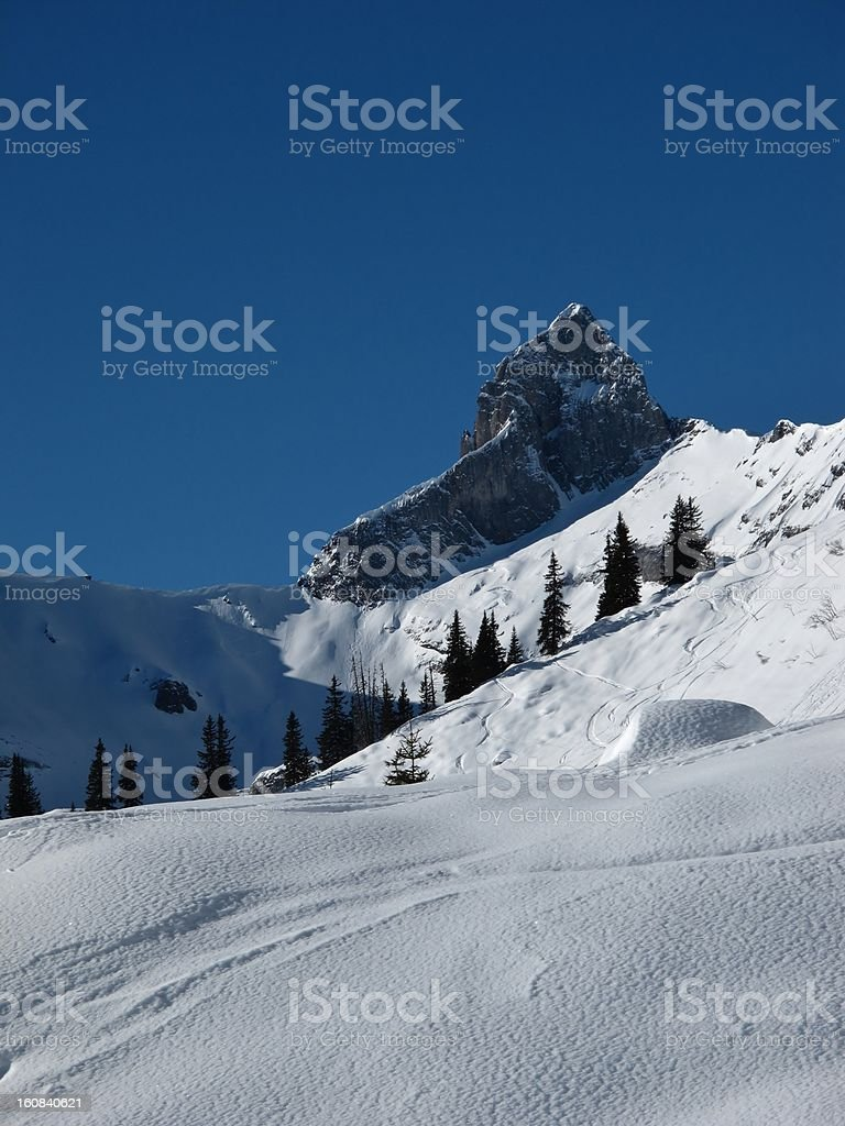 Snow landscape and mountain peak stock photo