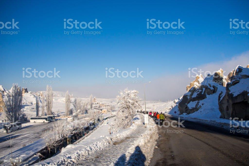 Paysage de neige, congère sur des bâtiments, des maisons et des arbres - Photo de Arbre libre de droits