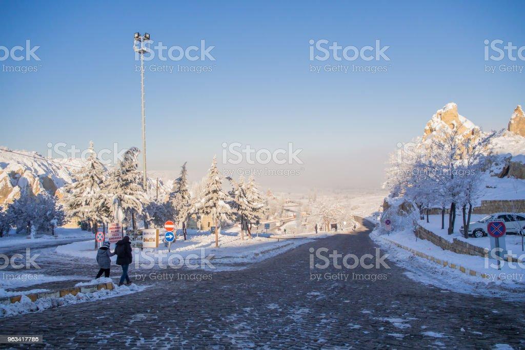 Snow landscape, snowdrift on buildings, houses and trees - Zbiór zdjęć royalty-free (Bez ludzi)