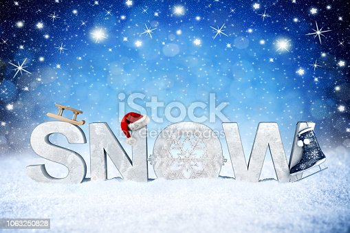 1047386704istockphoto snow lettering with santa claus hat christmas background 1063250828
