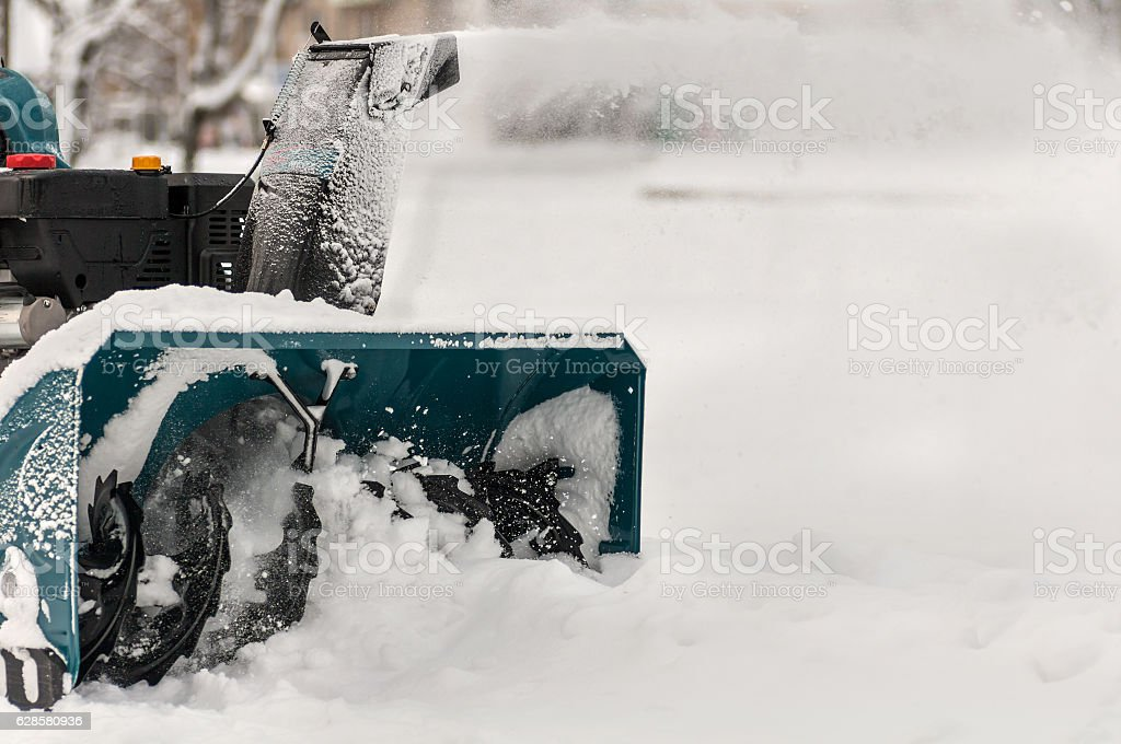 snow machine manual on the street stock photo