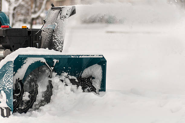 snow machine manual on the street stock photo