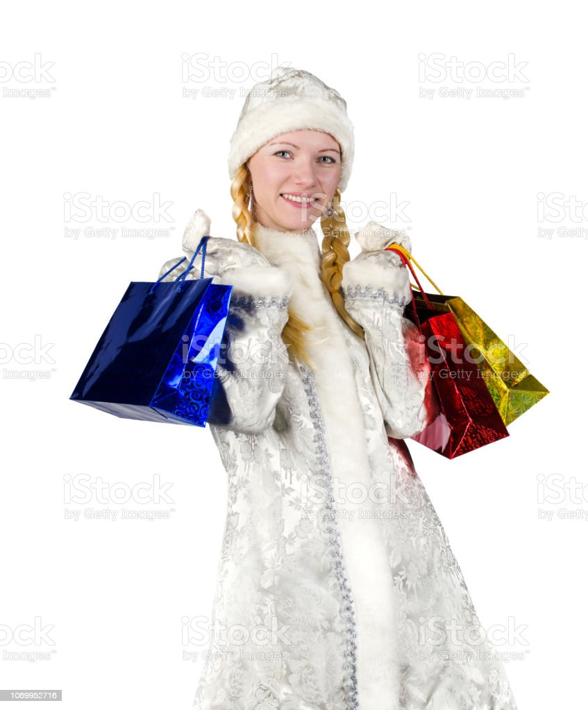 Snow maiden with pigtails on a white background. stock photo