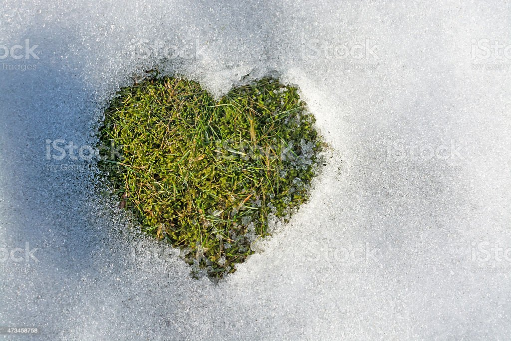 Snow melting in the shape of a heart stock photo