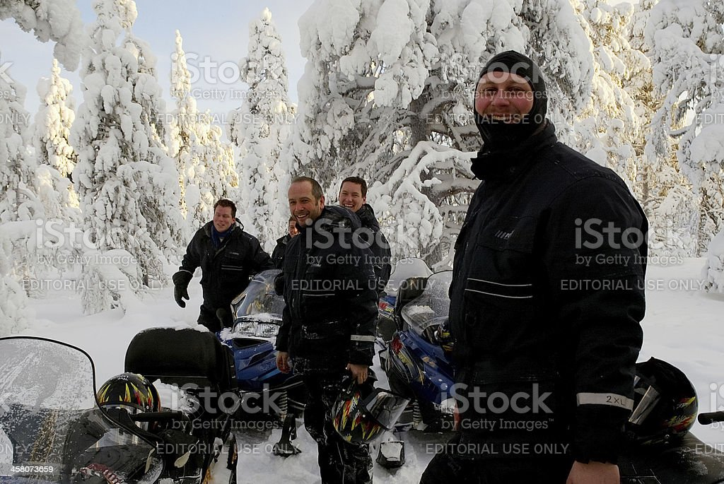 Snow Mobile Team Lapland Finland royalty-free stock photo