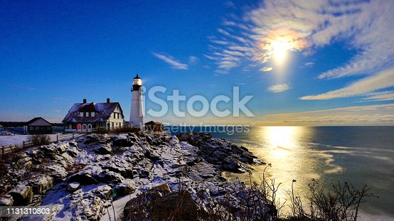 Snow Moon Rise on Portland Head Light after Snow