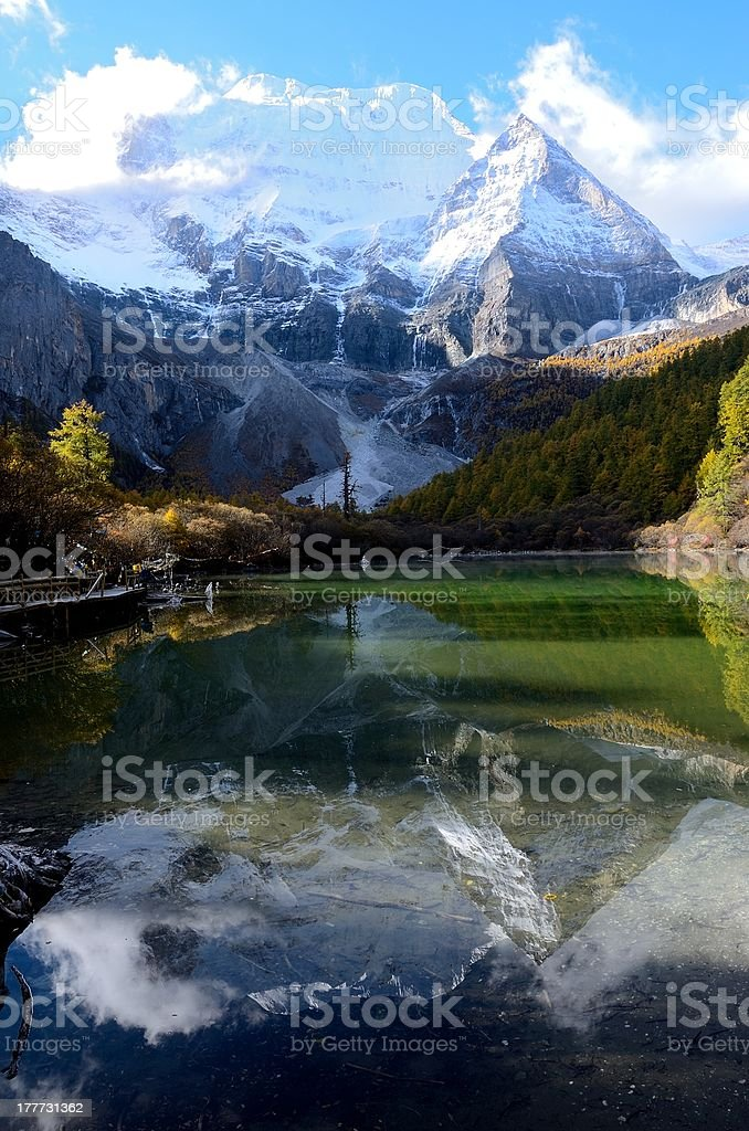Snow mount reflected in the Pearl Lake stock photo