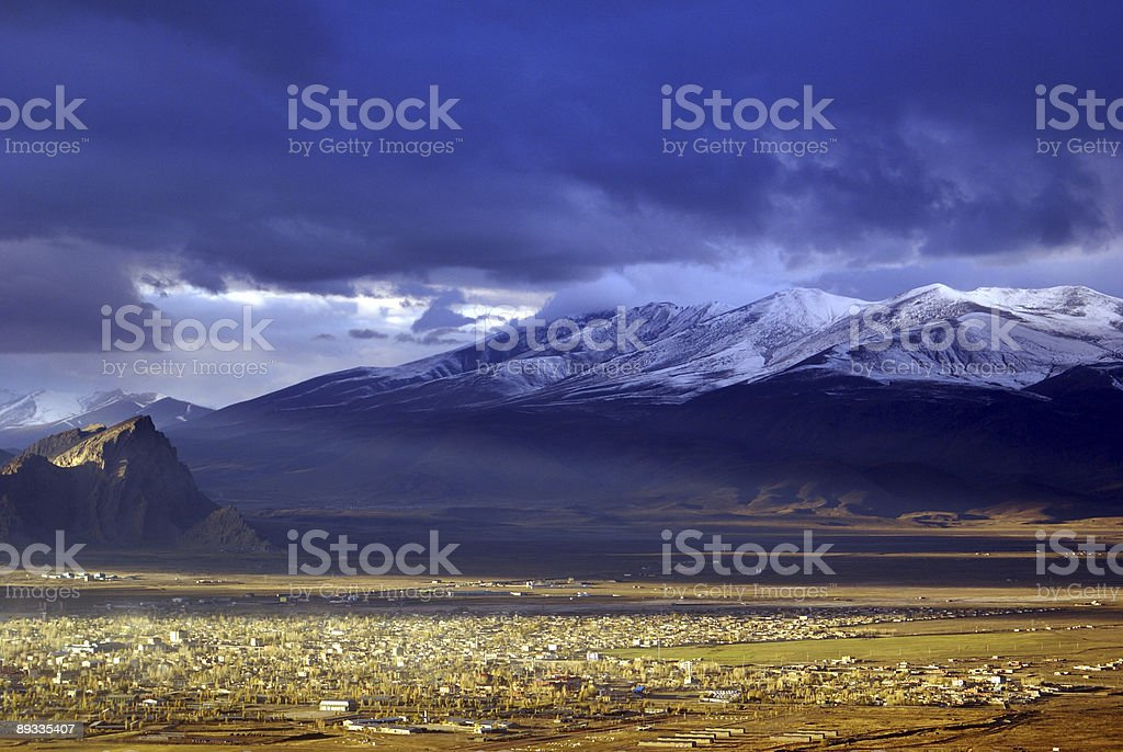 Snow mountain and sunset royalty-free stock photo