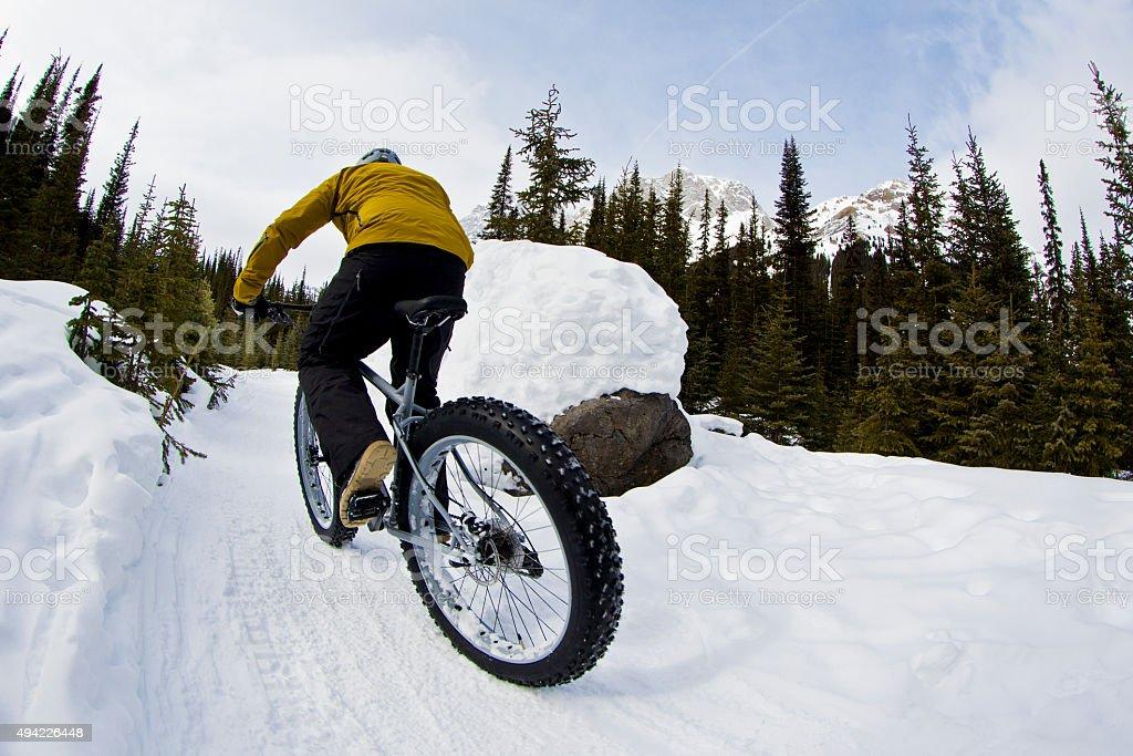 Snow Mountain Biking stock photo