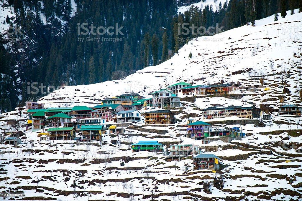Snow Mountain Houses India stock photo