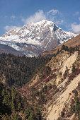 Snow mountain in Himalaya mountains range in Manaslu circuit trekking route, Nepal, Asia