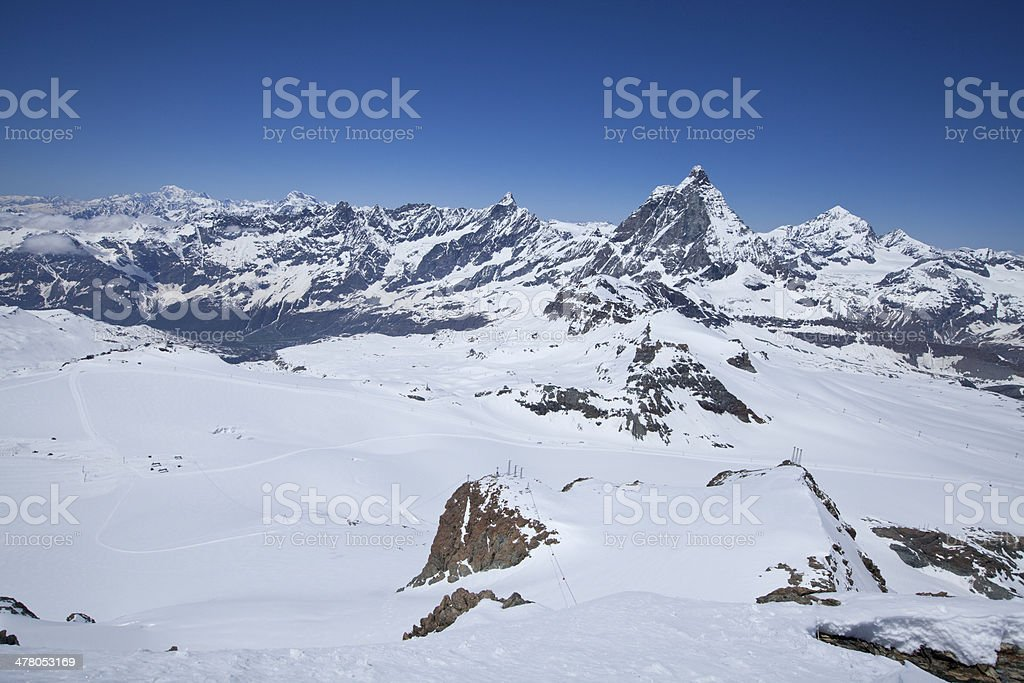 Snow mountain in Zermatt royalty-free stock photo
