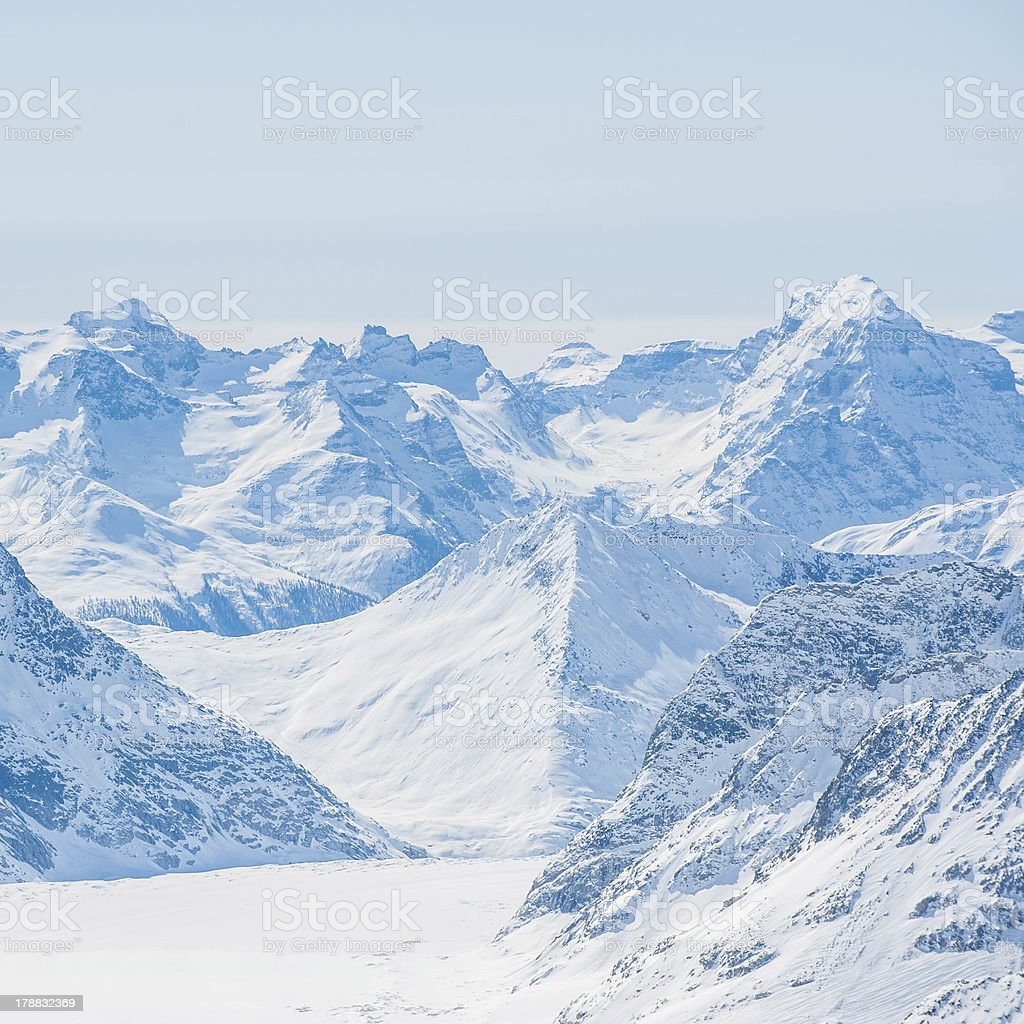 Snow Mountain Landscape with Blue Sky from Jungfrau Region royalty-free stock photo