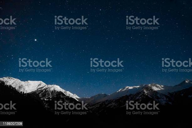 Photo of snow mountain night sky with star landscape