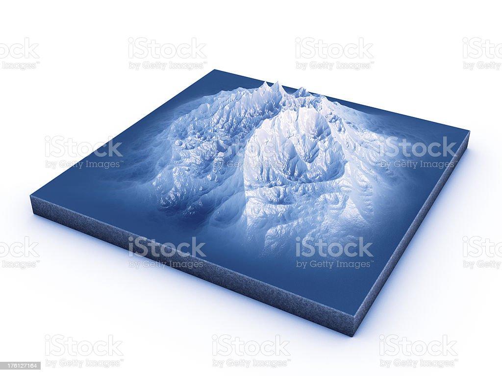 Snow Mountain Topographic Model stock photo