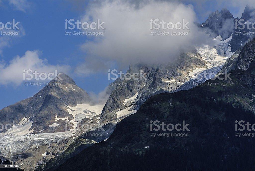 snow mountain under blue sky in the gadmen,Switzerland stock photo